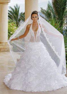 Elegant Custom Made Halter Chiffon Tulle/Net 2015 Wedding Dress Long Sleeve Wedding, Wedding Dress Sleeves, Wedding Dresses 2014, Wedding Gowns, Ball Dresses, Ball Gowns, My Big Fat Gypsy Wedding, Perfect Wedding Dress, Beautiful Gowns