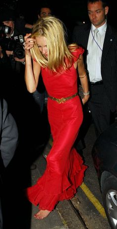 Kate Moss in red.
