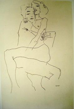 Egon Schiele. Embracing Couple. 1911. #egonschiele #art #painting #expressionism #nudeart