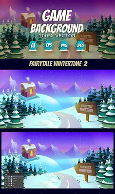Buy Fairytale Wintertime Game Background by VitaliyVill on GraphicRiver. You can use this background for your game application/project. The Game background is made with vector. Game Design, Layout Design, Pixel Art Games, Game Background, Game Assets, Winter Time, Typography Design, Game Art, Color Change