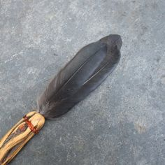 Smudging feather  Crow & wood  magical tool by NaturesArtMelbourne,