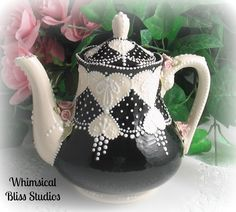 Whimsical Bliss Studios - Black Lace Heart Teapot