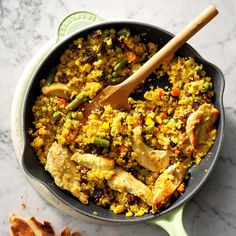 For my busy family, a semi-homemade one-pot meal is the best way to get dinner done in a hurry. Use your favorite blend of frozen veggies and serve with toasted pita bread for smiles all around. Chicken Vegetable Curry, Vegetable Couscous, Chicken And Vegetables, Veggies, 5 Ingredient Chicken Recipe, Curried Couscous, Cheap Chicken Recipes, Chicken Meals, Couscous Recipes