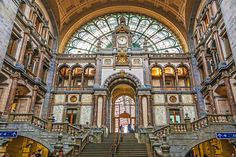 The glorious waiting hall of the Antwerp station, completed in 1905, is lavishly adorned with more than 20 kinds of marble and stone, but what keeps this from feeling ponderous is the counterpoint of soaring arched windows and skylights that fill the concourse with light. The upper train platform, too, features a magnificent vaulted iron-and-glass roof.