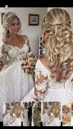 Princess Wedding Hairstyles Pictures Garden - extraordinary steps plan for perfect wedding hairstyle Wedding Hair Half, Wedding Hairstyles Half Up Half Down, Long Hair Wedding Styles, Long Hair Styles, Gown Wedding, Lace Wedding, Wedding Cakes, Wedding Rings, Wedding Dresses