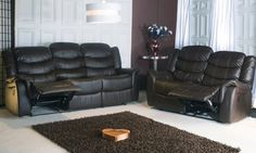 Groupon - Manhattan Three- and Two-Seater Leather Recliner Sofa Set for £619 With Free Delivery (56% Off) in [missing {{location}} value]. Groupon deal price: £619