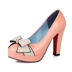 Patent Leather Women's Chunky Heel Platform Pumps/Heels with Bowknot Shoes(More Colors)