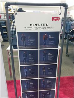 """If you want to look your best, even in Jeans, you had better understand the """"fits"""" here communicated for the Levis® line on an S-Hook hung placard. The subhead invites you to """"explore more Levis si. Sale Signage, Retail Signage, Store Displays, Booth Displays, Retail Displays, Jewelry Displays, Window Display Retail, Window Displays, Denim Display"""