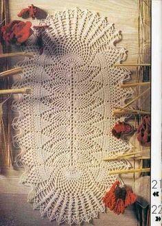 Oval crochet tablecloth