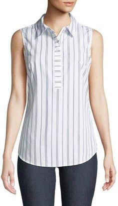 Shop Striped Sleeveless Wrinkle-Free Blouse from Iconic American Designer at Neiman Marcus Last Call, where you'll save as much as on designer fashions. Sewing Blouses, Cotton Blouses, Casual Dresses, Fashion Dresses, Vetement Fashion, Make Your Own Clothes, Dress Patterns, Blouse Designs, Blouses For Women