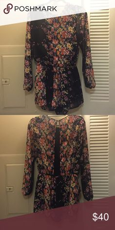 Flower Romper 🌸🌺🌷🌹 Long sleeve flower romper with open back! Only worn twice!! Lucca Couture Other