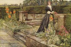 "Eleanor Fortescue-Brickdale ""Garden Fancies: The Flower`s Name"" 1909 watercolor"