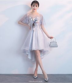 tulle grey prom dress #tullepromdress