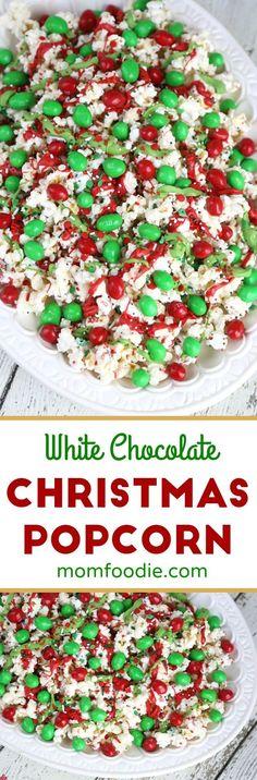 Christmas Popcorn recipe #Christmas #popcorn #whitechocolate #holidaysnacks via @MomFoodie