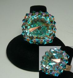 Riva Crystal AB  Design by Pencio   Swarovski Crystal AB Rivoli with Turquoise AB2X, White Alabaster AB2X and Caribbean Blue AB2X with fire polished and miyuki beads