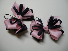 Pastel Pink Hair Bows Pig Tail Pair Dark Navy Blue by HareBizBows