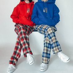 Hoodie & check #twin#styling
