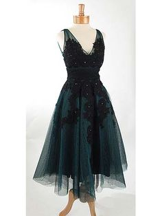50's Style Black and Teal Green Embroidered Tea Length Party Dress