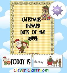 FREE Christmas Themed Days of the Week Cards - 3 pages freebie for Christmas to brighten up your classroom and get your students excited about Christmas!