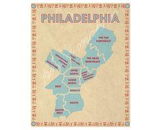Philadelphia Neighborhoods Map by PhilaMapCo on Etsy, $15.00