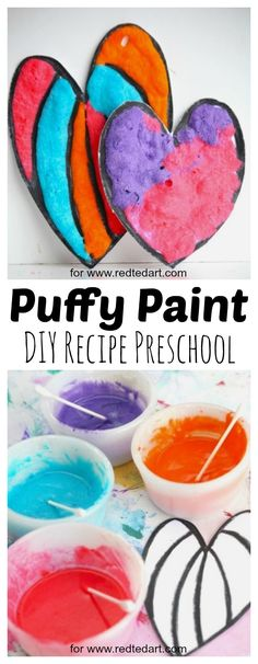 DIY Puffy Paint Recipe. Make these gorgoues puffy paint hearts for Valentines Day. They would make a great Heart Garland or puffy paint heart card for toddlers and preschoolers. Wonderful ine motor art activity #valentines #hearts #puffypaint #art #recipes