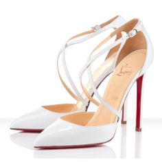 Christian Louboutin 120mm Crosspiga White Pumps for sale - $134.00
