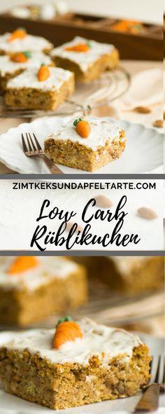 Super saftig und ganz einfaches Rezept zum selber backen: mein LowCarb Rüblikuchen - Karottenkuchen - Carrot Cake. Glutenfrei ist er im übrigen auch!