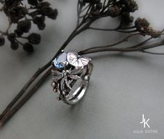 Twig ring Botanical dragonfly ring by JuliaKotreJewelry on Etsy