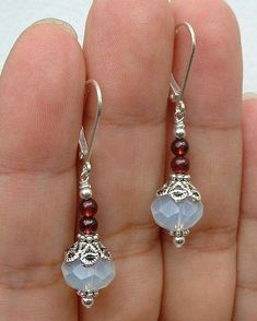 Details about beautiful handmade natural moonstone & ruby ​​gem dangle / earring . - Details about beautiful handmade natural moonstone & ruby ​​gemstone dangle / earrings - Beaded Earrings Patterns, Bead Earrings, Crystal Earrings, Earrings Online, Garnet Earrings, Silver Earrings, Onyx Necklace, Gemstone Earrings, Wire Jewelry