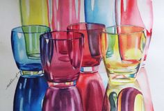 Watercolour painting of rainbow glasses painted by Sharon Douglas. Watercolour painting courses with Sharon www.sharondouglas.weebly.com for further details