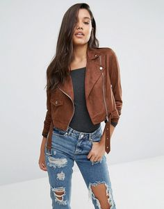 Buy it now. Missguided Faux Suede Biker Jacket - Brown. Biker jacket by Missguided, Faux-suede fabric, Studded lapels, Asymmetric zip fastening, Belted waistline, Cropped cut, Regular fit - true to size, Machine wash, 90% Polyester, 10% Elastane, Our model wears a UK 8/EU 36/US 4. ABOUT MISSGUIDED With an eye on the catwalks and hottest gals around, Missguided's in-house team design for the dreamers, believers and night lovers. Taking the risks no one else dares to, its bodycon dresses, crop…