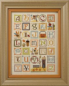 cross stitch pattern charm buttons : Lizzie Kate Autumn Alphabet halloween counted cross stitch. $10.50, via Etsy.