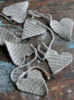 Crochet Hearts Garland - Wall Hanging