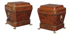 A pair of Regency mahogany and brass inlaid wine coolers, ci