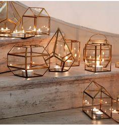 Golden glow of tea lights