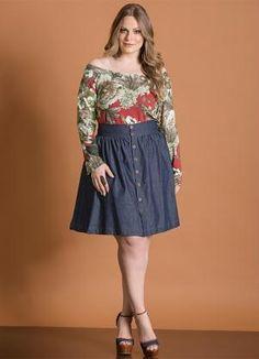 Blusa (Floral) Decote Amplo Ciganinha Plus Size