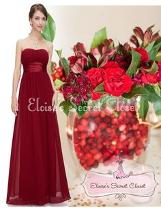 CRANBERRY Red Claret Chiffon Bridesmaid Maxi Long Evening Dress www.eloises-secret-closet.co.uk