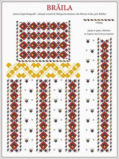 Semne Cusute: traditional Romanian blouse from WALLACHIA, Braila county Folk Embroidery, Embroidery Patterns, Cross Stitch Patterns, Hama Beads, Traditional Outfits, Textile Design, Beading Patterns, Pixel Art, Needlework