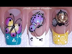 Summer Acrylic Nails, Spring Nails, Summer Nails, Subtle Nails, Butterfly Nail Art, Nails First, Latest Nail Art, Pretty Nail Art, French Tip Nails