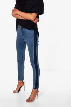 Abby High Rise Side Stripe Skinny Jeans at boohoo.com