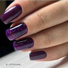 Dark purple nails Glitter nails ideas Ideas of violet nails Manicure 2018 Nails trends 2018 Novelty of fall nails October nails Plain nails Dark Purple Nails, Purple Manicure, Purple Glitter Nails, Violet Nails, Manicure E Pedicure, Glitter Manicure, Glitter Bomb, Funky Nails, Trendy Nails