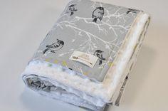 Minky baby blanket - Personalized Baby minky blanket - Grey gray bird blanket - Minky Girls Blanket - Bird Nursery Blanket - Girls blanket