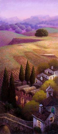 Fine Art and You: Luis Romero Spanish Painters, Spanish Artists, Landscape Art, Landscape Paintings, Landscape Posters, Colorful Paintings, Naive Art, Pablo Picasso, Painting Techniques