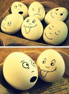 funny faced eggs