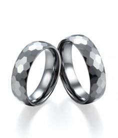Couple's 6MM Polished Shiny Hexagonal Faceted Tungsten Wedding Bands Set | Tungsten Carbide Rings 24HOUR SHIPPING