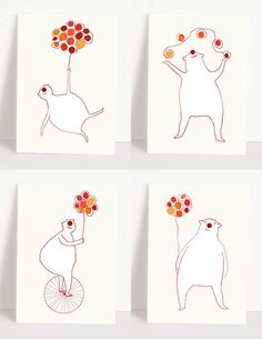 Set of 4 circus bear postcards - animal cards - whymsical greeting cards - bears - balls -balloon - juggling - postcard set -  red nose