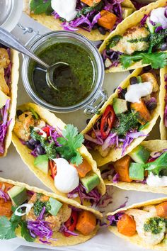 Winter tacos with chimichurri sauce are a speedy, tasty and nutritious meal. They are vegan and gluten free and make a great finger food for your guests.