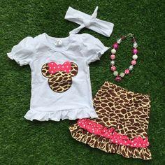 Cheetah Minnie Mouse Short Set