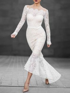 Sexy Women's Long Sleeve Word Neck Slim Lace Fishtail Mermaid Bodycon Dress Party Dress