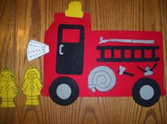 fire truck- wheels on the truck felt board